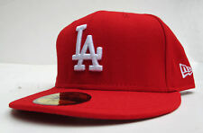LA Dodgers Red On White Logo All Sizes Fitted Cap Hat by New Era