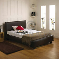 4FT6 OR 5FT LEATHER BED FREE MEMORY FOAM MATTRESS NEW
