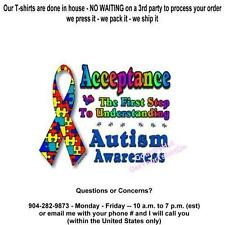 T-shirt -  Autism Awareness - 1st STEP 2 UNDERSTANDING - yth xSm - up to 6xLg