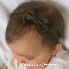 BROWN DAINTY HAIR BOW LACE HEADBAND INFANT TODDLER BABY