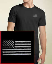 Blacked Out American Flag EMBROIDERED Black T-Shirt USA