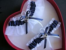 New Wedding Garters Sexy Bridal Navy Blue White Wedding Garter Prom Homecoming