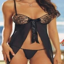 WOMENS LINGERIE UNDERWEAR 8035 BOW TIE FRONT SHEER BABYDOLL CHEMISE 8/10