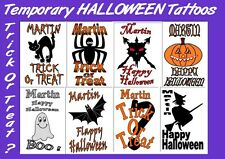 temporary X8 FAKE TATTOOS name PERSONALISED boys girls party bags HALLOWEEN