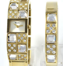 Ladies Henley Sparkly Crystal Gold Tone Slim Watch OR Watch and Bangle Gift Set
