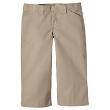 NEW Dickies School Uniform JUNIOR Girls KHAKI Flat Front Capri Pants