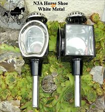 Horse Carriage Coach Lamps Brass Or White Metal Horse Shoe Style N3 N3A Pony Cob