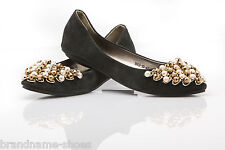 NEW LADIES WOMENS LEATHER SUEDE FLATS LOAFERS DRESS CASUAL FLAT SHOES WITH BEADS