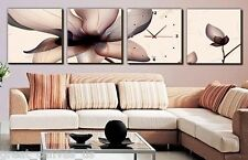 FRAMED Sepia Water Lilies Wall Clock On Canvas Prints Set Of 4 READY 2 HANG