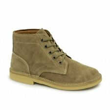Roamers Mens 5 Eyelet Suede Leather Lightweight Army Ankle Desert Boots Taupe