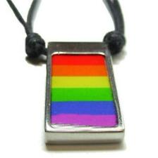 Gay Pride Flag Pewter Dog Tags Necklaces Rainbow Bear Bisexual Leather GLBT