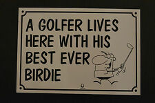 golfer lives here funny house sign plastic HOLED DRILLED xmas birthday present