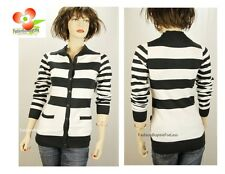 Uniqulism Black Wht Button-Down Pocket Stripes Knitted Sweater Cardigan S M L XL