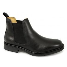 Roamers Mens Twin Gusset Padded Soft Leather Chelsea Dealer Boots Black New