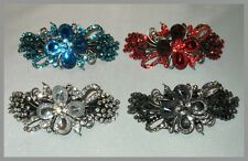 EXQUISITE SILVERTONE METAL CRYSTAL BARRETTE SELECT COLOR SHIPS FAST FROM USA