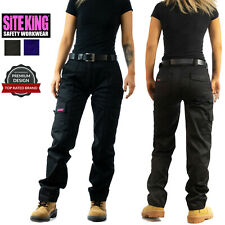 Ladies Cargo Combat Work Trousers Size 8 to 22 Black or Navy  - 005