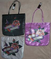 Ed Hardy FRANCESCA Sequin LOVE ETERNAL Tote Bag Purse NWT several colors **