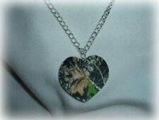 mossy oak breakup real tree camo heart pendant necklace redneck prom wedding