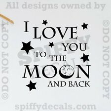 I LOVE YOU TO THE MOON AND BACK Nursery Kid Quote Vinyl Wall Decal Decor Sticker