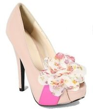 Joyce-2 Nude Peep Toe Pump High Heel Flower Bow