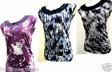 NWT Ann Taylor Cotton Blend Abstract Print Decorated Round Neck Knit Top sz.XS-L