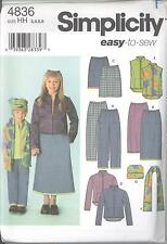 Simplicity 4836 Girls' Pants, Skirt, Jacket, Vest, Scarf and Hat  Sewing Pattern