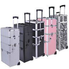 """2in1 Pro Aluminum Rolling Makeup Cosmetic Train Case 38"""" Lockable Wheeled Box"""