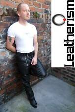 Black cowhide nappa leather sailor / builder jeans gay bluf