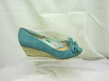 Ladies Anne Michelle Peep Toe Wedge Sandal With Bow In Blue 'L6056'