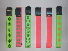 Neon canvas belt skater boy punk knuckle duster diamond  pink green orange black