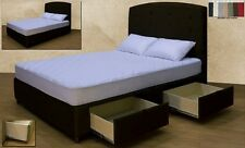 Queen Platform Storage Bed with Headboard - Upholstered Micro Fiber Hand Made