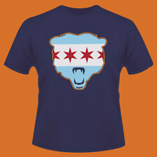 CHICAGO BEARS CITY FLAG T SHIRT- DA BEARS WITH ORANGE TRIM ON BEAR SHIRTS