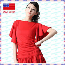 SCT1098RD (S-XXL) New Women Ballroom Latin Rhythm Salsa Swing Dance Blouse Top