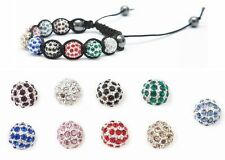 2 x 10mm Metal Pave Crystal Disco Shamballa Friendship Bracelet Beads Jewellery