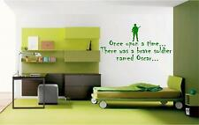 PERSONALISED ONCE UPON A TIME SOLDIER WALL STICKER DECAL BOYS BED ROOM ART
