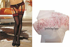 Pink & White STOCKINGS Cross-Dye RED & BLACK Sheer LACE TOP 4 Garter VALENTINES