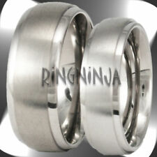 His and Her Brushed Titanium Bands Wedding Ring Set Engraving Available!