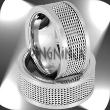 10MM Stainless Steel Mens Ring w/ Mesh Inlay Size 7-16 Engraving Available!