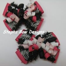 LOT 2 ADORABLE Shock Pink Zebra Black White LAYERED KORKER PIGTAIL HAIRBOW