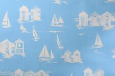 BEACH HUTS BLUE PVC WIPE CLEAN OILCLOTH WIPEABLE TABLECLOTH CO click for sizes