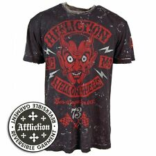 Affliction Mens El Diablo Reversible Cotton T Shirt Black Official NEW