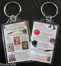 SEPTEMBER Day You Were Born Birthday Birthdate Keyring Gift Historic Events NEW