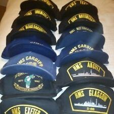 23 BASEBALL CAPS - BRITISH NAVY VESSELS - SEE LIST FOR DETAILS AND CONDITION