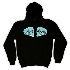 LOVE HATE OLD TATTOO RETRO INK HOODED JUMPER TOP HOODIE ALL COLOURS AND SIZES