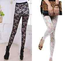 Hot Sexy Women Lady Rose Lace Through Leggings Pants Footless Tights Two Colors