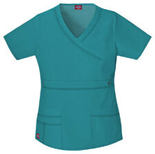 Scrubs Dickies Gen Flex Youtility Mock Wrap Top 817355 Teal  FREE SHIPPING!