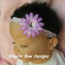 SOFT LILAC DAISY FLOWER BLING DAINTY HAIR BOW LACE HEADBAND INFANT BABY NEWBORN