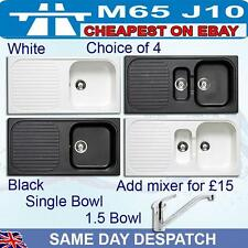 Black or White Coloured Kitchen Sink Single /One and half bowl drainer Astracast