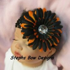 HALLOWEEN GERBER DAISY w/ BLING LAYERED HAIR BOW HEADBAND BABY NEWBORN INFANT