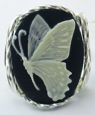 R470 Butterfly Cameo Ring Sterling Silver Black Fine Jewelry